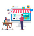 online shopping concept on computer desk vector image vector image