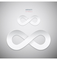 Paper Infinity Symbols on Grey Background vector image vector image