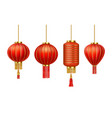 realistic chinese new year red paper lanterns vector image vector image