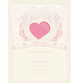 romantic vintage invitation with heart vector image vector image