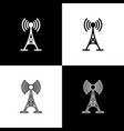 set antenna icons isolated on black and white vector image vector image