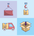 set delivery service fast transportantion vector image