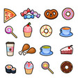 set of colorful cartoon fast food icons isolated vector image