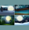 set of nature blur background vector image