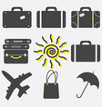 set travel icons icons leave suitcase umbrella vector image vector image