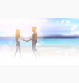 silhouette couple holding hands on beautiful sea vector image