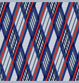 Tartan seamless rhombus texture in blue red and vector image