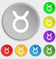 Taurus icon sign Symbol on eight flat buttons vector image vector image