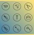 tools icons line style set with drill electric vector image vector image