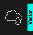 white line cloud with rain icon isolated on black vector image vector image