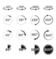 Angles 45 90 180 and 360 degrees icons vector image