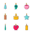 aroma candle icons set cartoon style vector image vector image