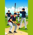 baseball players training vector image vector image