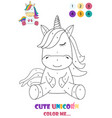 black and white drawing a unicorn for coloring vector image