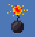 bomb explosion pixel icon explosive sign vector image