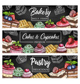 cakes and cupcakes sketch banners set vector image