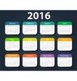 Calendar 2016 year design template vector image vector image