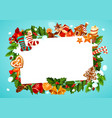 christmas frame with fir branches and holly plant vector image vector image