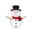 christmas snowman on a white background vector image vector image
