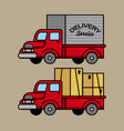 classic courier truck vector image vector image