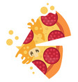 couple salami pizza slicesprint vector image vector image