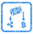 cryptocurrency cashflow framed stamp vector image vector image