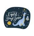 cute cartoon print with long neck dino in space vector image