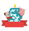 cute number five candle with dog and pig vector image vector image