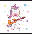 cute unicorn playing guitar ready for t-shirt vector image vector image