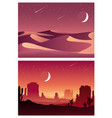 desert sunset and night landscape vector image vector image
