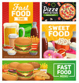 fast food combo meals posters and banner vector image vector image