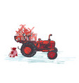 festive new year 2019 card red tractor with vector image vector image