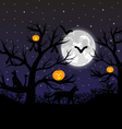 Forest with pumpkins bats and cats vector image