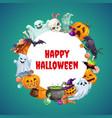 halloween symbols frame ghosts pumpkins sweets vector image