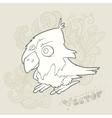 hand drawn retro cartoon bird vector image vector image