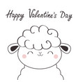 happy valentines day sheep lamb face head icon vector image