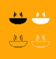 hot dish set black and white icon vector image vector image