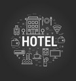 hotel concept on black vector image vector image