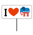 I love Republicans Symbol of elephant and heart vector image vector image