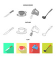 kitchen and cook icon set vector image vector image