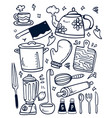 kitchen equipment and utensil hand drawn doodle vector image