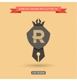 logo emblem crown pen letter r education vector image vector image