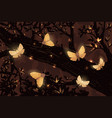 magical night butterflies in the forest vector image