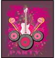 Microphone guitar and wing motif in pink Abstract vector image