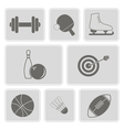 monochrome set with sport icons vector image vector image
