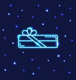 neon rectangular gift box icon in line style vector image vector image