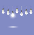 realistic hanging light bulbs creative concept vector image vector image