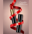 red lipstick realistic 3d mock up advertising vector image vector image