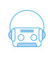 retro cassette with earphones vector image vector image