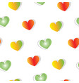 seamless pattern with red and green hearts vector image vector image